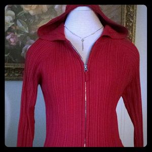 Ladies Red Hooded Sweater
